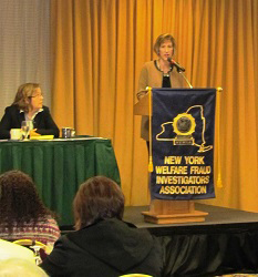 Commissioner Proud addressing the audience at the New York Welfare Fraud Investigators Regional Training Seminar